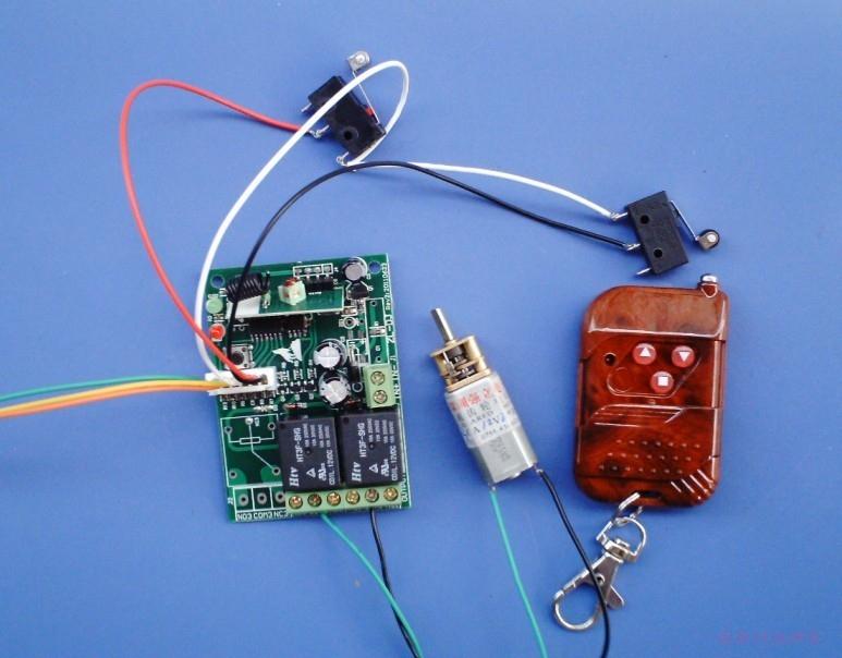 12伏电机正反转遥控开关接线图,机械开关做限位开关,带手控功能
