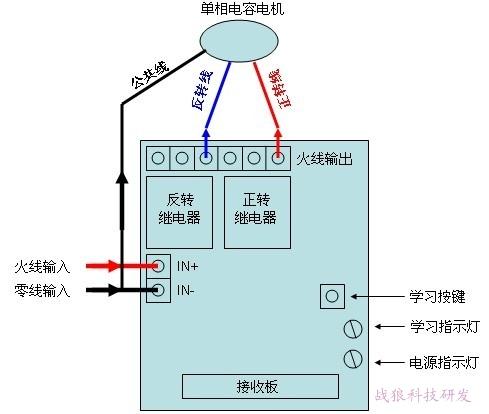 220伏单相电机正反转遥控开关接线图,带手控和限位功能
